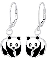 FIVE-D - Pendientes infantiles de plata de ley 925, diseño de oso panda