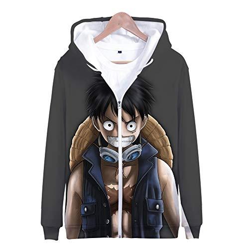 Nicoole One Piece Hoodie Veste Sweat 3D Imprimer Vogue Zipper Hoodies Hommes/Femmes Hiver À Manches Longues Anime Hoodies Vêtements XXXL