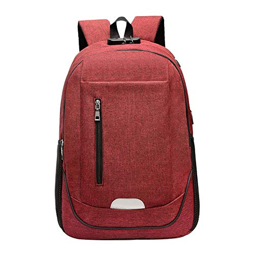 MTnoble Zaino for Laptop con USB, Zaino for Laptop for Laptop antifurto, Zaino del Computer, Zaino da Viaggio da Uomo, Borsa for Studenti Abbigliamento Moda Zaino (Color : Red)