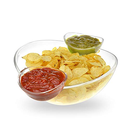Chips and Dips Bowl 3pc Set - Generously sized bowl and 2 detachable cups for dips - Great for Salad, Chips, Dips, Salsa and other Snacks