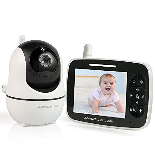ANGELBLISS Vigilabebés con Cámara 3.5' con Pantalla LCD Digital Audio Baby Monitor Canciones de Cuna Audio bidireccional babyphone, Vigilancia de la Temperatura de Visión Nocturnay (Blanco)