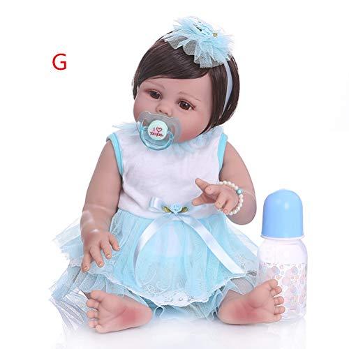 Minsong 48cm Vollsilikon-Babypuppe, Braune Augen Bobhaar Neugeborene Puppen Mit Tierspielzeug-Outfit (G)