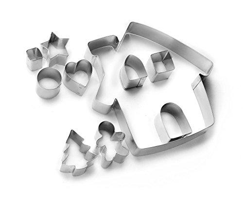IBILI 794300 Lot 10 Emporte-Pièces Maison, Autre, Argent, 13 x 13 x 10 cm