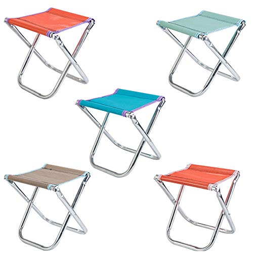 Mhwlai Mini Tragbare Klappstuhl Outdoor Klappstuhl Edelstahl Outdoor Angeln Camping Tragbare Mesh Stuhl (Zufällige Farbe),nobackrest