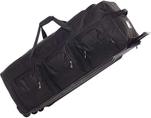 Large Lightweight Wheeled Duffle Holdall Travel Bag Sports Bag - 2 Year Warranty (Black/Black, 40 Inch)