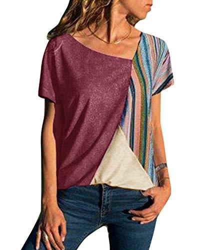YOINS - Camiseta para mujer, sexy, sin hombros, para verano, túnica, descubierta, a rayas Rayas de vino tinto. L