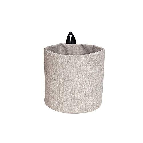 Bigso Box of Schweden Hängekorb klein – runder Wandkorb mit Schlaufe und in Leinenoptik – Aufbewahrungsbox zum Aufhängen oder Hinstellen aus Polyester und Karton – beige