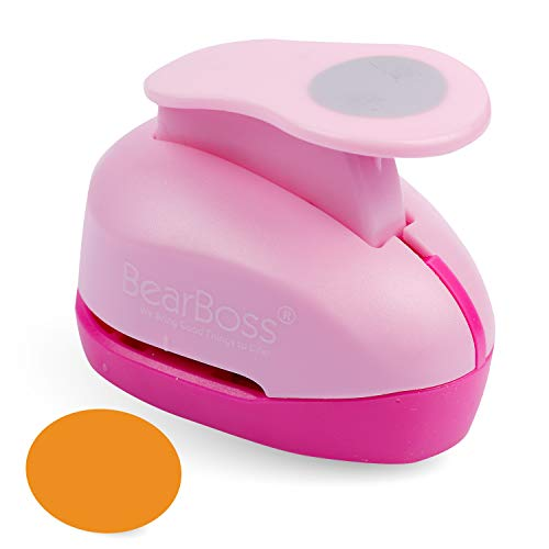 """BearBoss Circle Hole Punch, Paper Punch Shapes, 1"""" Craft Paper Puncher for Cardstock Scrapbooking Festival Paper Greeting Card DIY Albums Photos (Pink)"""