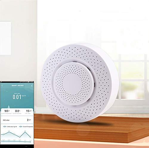 Tuya WiFi Smart Air Box, Formaldehyd/VOC/Kohlendioxid/Temperatur/Feuchtigkeitssensor, mit Alexa und Google Home