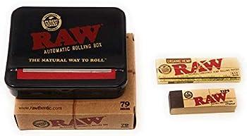 RAW 79mm Roll Box Bundle by DeLaCruzV .1 1/4 RAW Organic Hemp Rolling Paper RAW Tips and RAW Adjustable Automatic Rolling Box