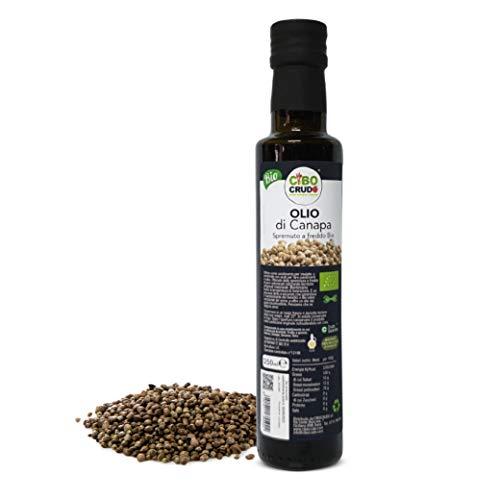 Cibocrudo Olio di Semi di Canapa Biologico Alimentare Spremuto a Freddo per Mantenere i Benefici Naturali, Ottenuto da Semi di Canapa Sativa, Sostituto dell'Olio da Tavola – 250 ml