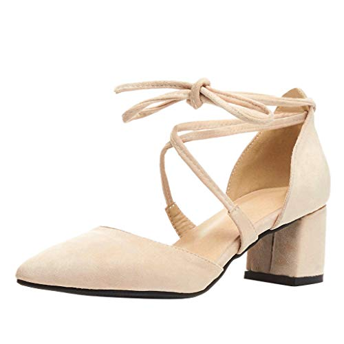 Damen Pumps Wildleder Spitz Knöchelriemen Mittelhohem Blockabsatz, Elegante Schuhe Komfort Bequem Spangenpumps Frühling Sommer Sandalen Celucke