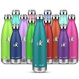 KollyKolla Botella de Agua Acero Inoxidable, Termo Sin BPA Ecológica, Botellas Termica Reutilizable Frascos Térmicos para Niños & Adultos, Deporte, Oficina, Yoga, Ciclismo, (500ml Verde Oscuro)