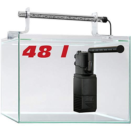 sera 32366 Scaper Cube 48 l Startset modernes Nano Glas Aquarium mit LED-Beleuchtung und Filter