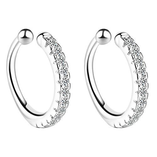 MYA art Damen Ohrklemme Ohrringe 925 Silber mit Zirkonia Strass Stein Glitzer Clip On Ear Cuff Fake Piercing Ring Hoop Klemmring Ohr Helix Cartilage