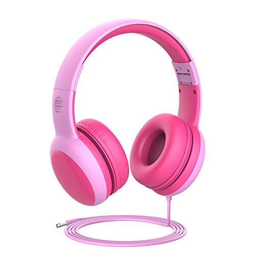 gorsun Kinderkopfhörer mit Kabel, Faltbare Kopfhörer für Kinder mit Dekorationsohren, verstellbare Leicht-Kopfhörer für Jungen und Mädchen-Rosa