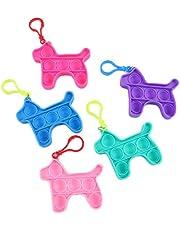 CeFoney Fidget Eenvoudige Dimple Toy, 5 Stks Zintuiglijke Speelgoed Mini Stress Relief Hand Speelgoed Dier Sleutelhanger Speelgoed Knijpen Bubble Speelgoed voor Kinderen Volwassenen Beer Eenhoorn Hond Dinosaurus