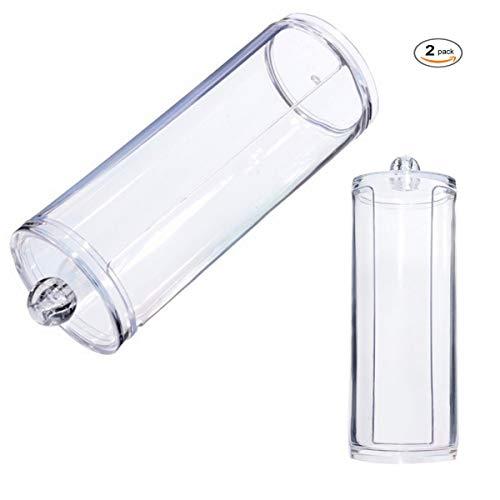 Xiuyer Porta Dischetti di Cotone Dispenser Trasparenti Acrilico Trucco Organizzatore Contenitore Rotondo Cosmetici Scatola di Immagazzinaggio con Coperchio(2 Pezzi, 17x6.8cm)