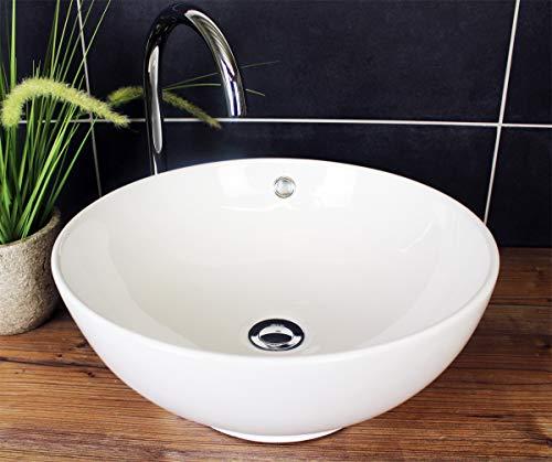 Aufsatzwaschbecken Rund 43x 17 cm mit Überlauf Waschbecken Waschschale Weiß Keramik Aufsatzwaschschale