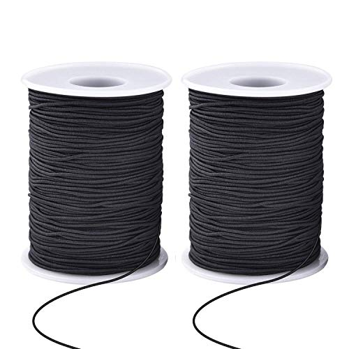 Zealor 2 Roll 0.8 mm Elastic String Cord Elastic Thread Beading String Cord for Jewelry Making Bracelets Beading 100 Meters/Roll (Black)