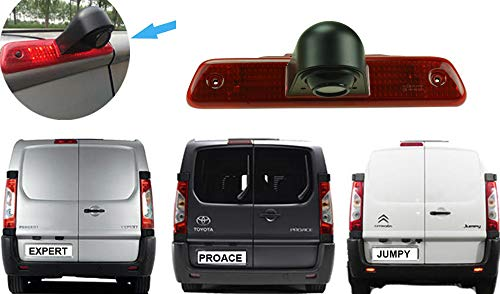 YMPA Rückfahrkamera kompatibel mit Transporter Peugeot Expert Citroen Jumpy und Toyota ProAce Bremsleuchte Farbe IR Nachtsicht 10 Meter Kabel NTSC Rückfahrsystem