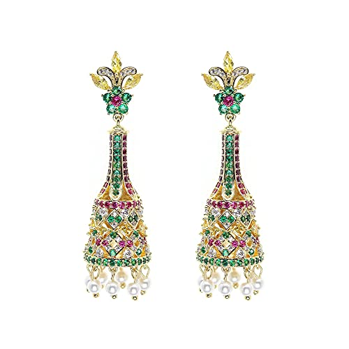 Afrodeti Preciosos pendientes largos de oro Jhumki para niñas y mujeres