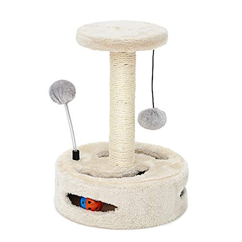 ZXCVASDF Cat Tree, Cat Tower with Scratching Posts, Multi-Level Cat Condo with 2 Toy Ball and Toy Tunnel,14 inches Tall Cat House Furniture, Activity Center Play House