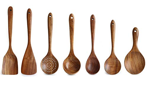 Wooden Kitchen Utensils Set, 7pcs Cooking Tools Non Scratch & Heat Resistant & Protect Your Pans, Japanese Style