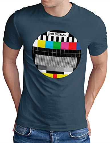 OM3® NO-Signal T-Shirt - Herren - Retro TV Testbild Analoger Fernseher - Denim, M