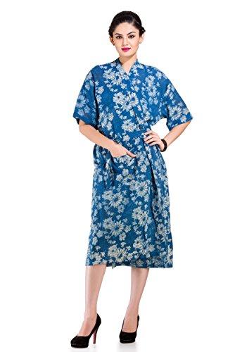 Handicraft-Palace Indigo Blue Floral Printed Bathrobe Dressing Bath Gown Nightdress...