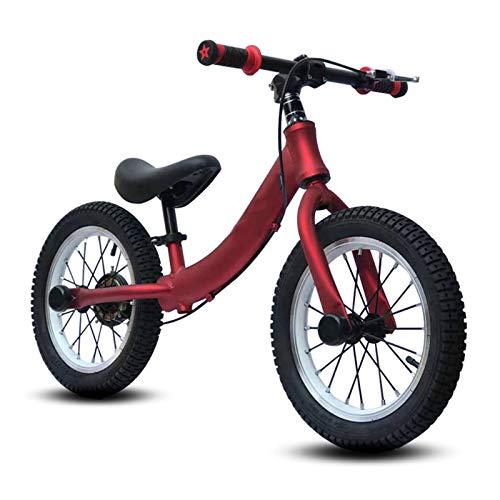 Bicicleta Sin Pedales Equilibrio Neumáticos de Aire de 14 Pulgadas Bicicleta de Equilibrio con Frenos, Sin Pedal Bicicleta de Asiento Ajustable para Grandes Niño Niñas Niño Aluminio Ligero Bicicletas