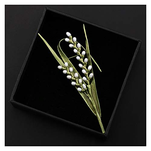 Broches Elegante de la perla del arroz Broche de alta temperatura de cocción de barniz sin decolorarse broche del Pin de la solapa de regalos de la joyería de las mujeres del partido del aniversario d