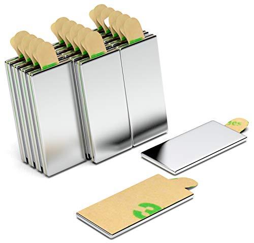 30 Stück 20x10x1 mm N42 selbstklebende Neodym Magnete - NeoMagNova® starke Klebemagnete paarweise magnetisiert