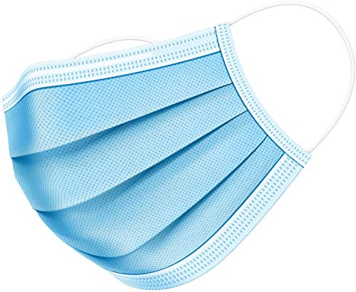OxGord Face Mask - 150 Disposable Ear-Loop Masks (50ct Per Box, Pack of 3) Protection from Dust, Pollen, and More – Mouth Cover Ideal for Everyday Use, Blue
