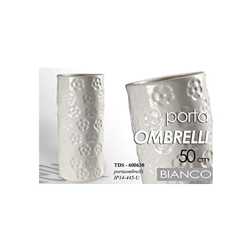 Gicos Portaombrelli In Ceramica Bianco Fiori Design Cm 50 H