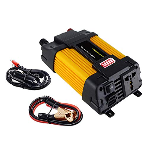 #N/A 300W/500W DC 12V 110V/220V Inverter with 2 USB Charging Ports, Power Converter with 2 AC Outlets Battery Clip Charger, Car Adapter - 220V 500W 6000W