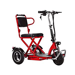 WYZXR Folding Portable Lightweight?Electric Mobility Scooter 3 Wheeled ?350W Faster?Travel Pavement Fits in Most Car Boots Red-55KM