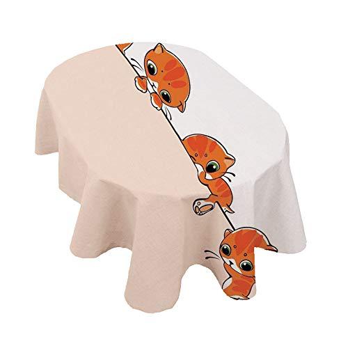 Mantel ovalado con diseño de gato y felinos, diseño artful de felinos,...