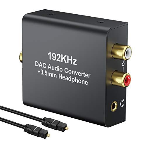 LiNKFOR 192KHz DAC Convertitore Audio Digitale ad Analogico con 1M Cavo Ottico Convertitore Coassiale Toslink a RCA R/L Jack 3.5mm Supporta PCM LPCM DAC Adattatore Audio con USB Cavo di Alimentazione