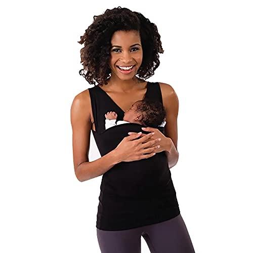 LISI Camiseta de Porteo Camisa Canguro Mujer Multifuncional Camiseta Portabebés con Gran Bolsillo Respirable Suave Chaleco de Verano