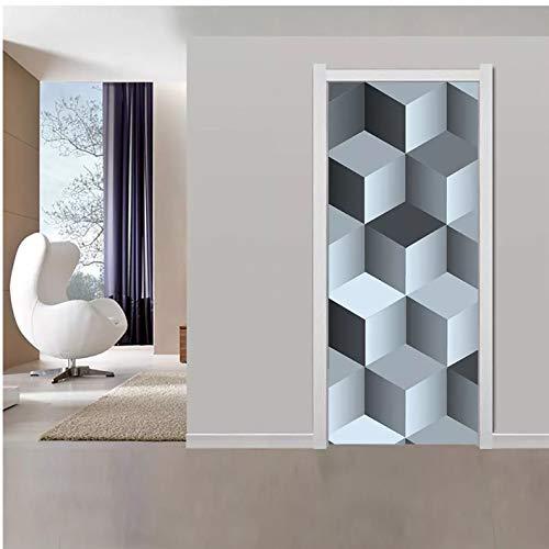Nuevo Creative Art Rubik'S Cube 3D Door Stickers Para Sala De Estar Dormitorio Pvc Autoadhesivo Diy Impermeable Mural Decoración Para El Hogar Tatuajes 95X215Cm