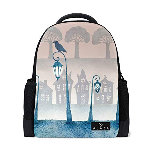 My Daily Watercolor Street Ravens Trees Backpack 14 Inch Laptop Daypack Bookbag for Travel College School