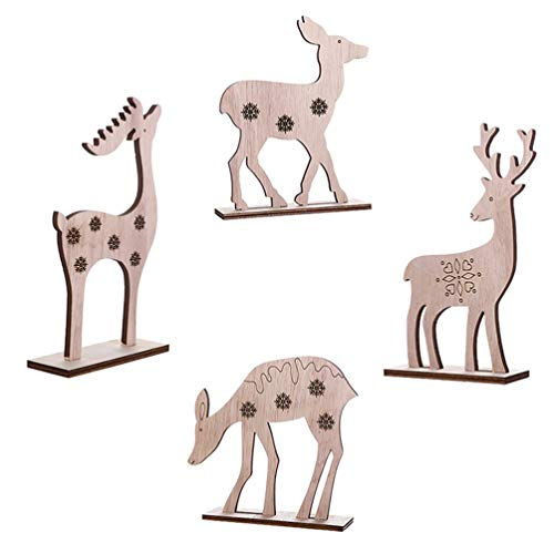 Amosfun 4Pcs Reindeer Christmas Ornaments Wooden Deer Sculpture Model Figure Figurine Statue Decor