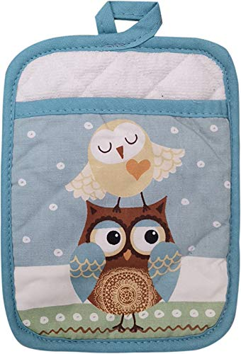 ChezMax Blue Owl Pattern Coasters Cotton Storage Bag Double-Layer Thickened Coaster Sewing Garden Fabric Pot Holders for Kitchen Table Dining Hot Pots Cooking Baking 1PC