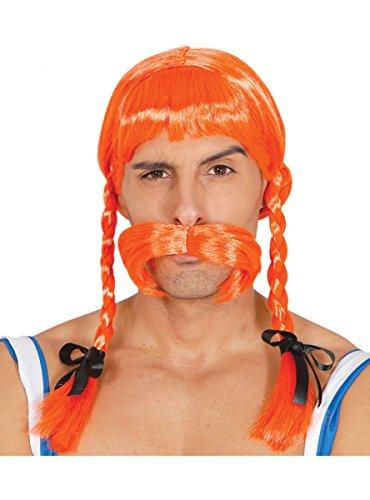 Guirca Rotblonde Wikinger Perücke orange zum Gallier Kostüm für Herren Karneval Fasching Party