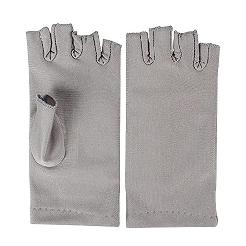 Guantes de uñas Secador anti protección UV Led lámpara de la radiación UV Pantalla sin dedos Guantes de uñas Herramientas secador del arte para el salón principal 1 par gris