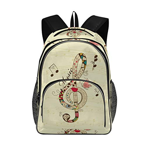 LUPINZ Musikalischer Hintergrund Laptop-Rucksack, College School Bookbag passend für 39,6 cm (15,6 Zoll) Laptop und Notebook