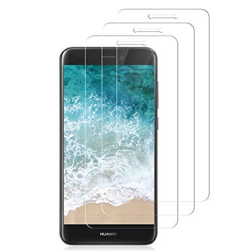 YIEASY 3 Piezas Protector Pantalla para Huawei P8 Lite 2017,HD Cristal Templado,Anti-Arañazos/Dureza 9H/Sin Burbujas/Vidrio Templado película Protectora para P8 Lite 2017-Transparente