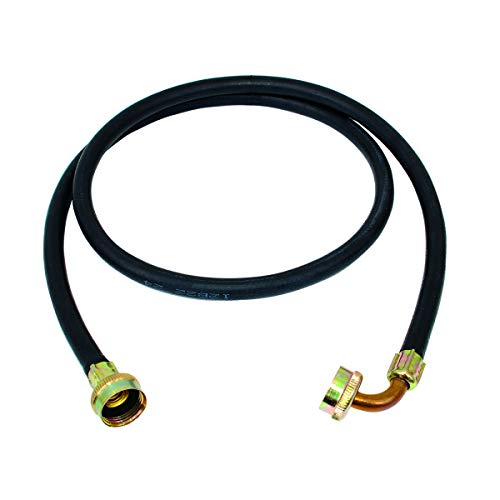 Eastman 60333N, Black Rubber Washing Machine Fill Hose with Elbow, 3/4 inch FHT, 5 Ft