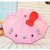 Miwaimao かわいい子供アニメ子供傘女の子ロングハンドルかわいい傘学生白い傘、ピンク